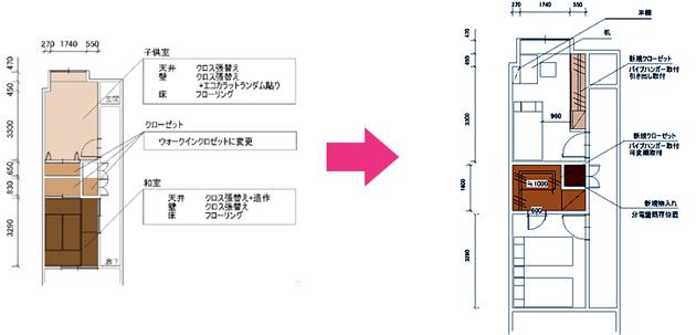 埼玉県所沢市Nさま施工前後図面